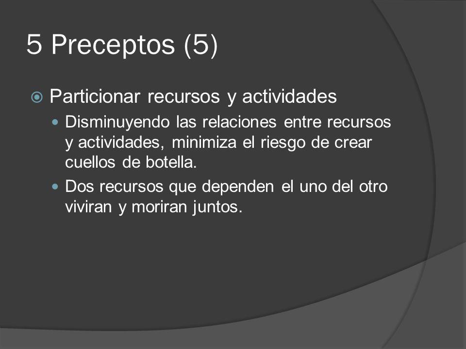5 Preceptos (5) Particionar recursos y actividades Disminuyendo las relaciones entre recursos y actividades, minimiza el riesgo de crear cuellos de bo