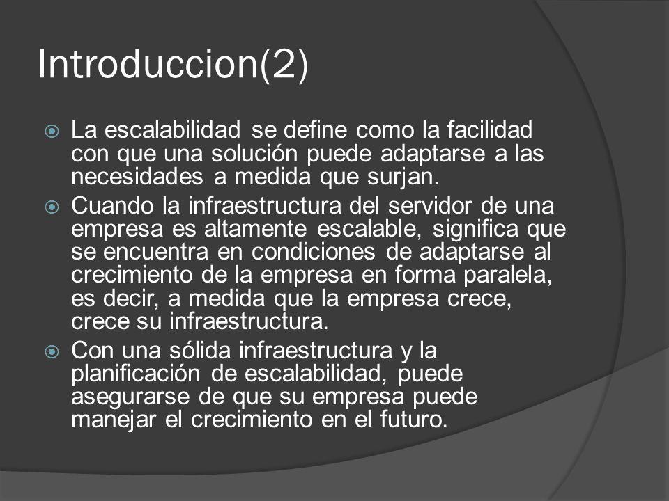 Introduccion(2) La escalabilidad se define como la facilidad con que una solución puede adaptarse a las necesidades a medida que surjan. Cuando la inf