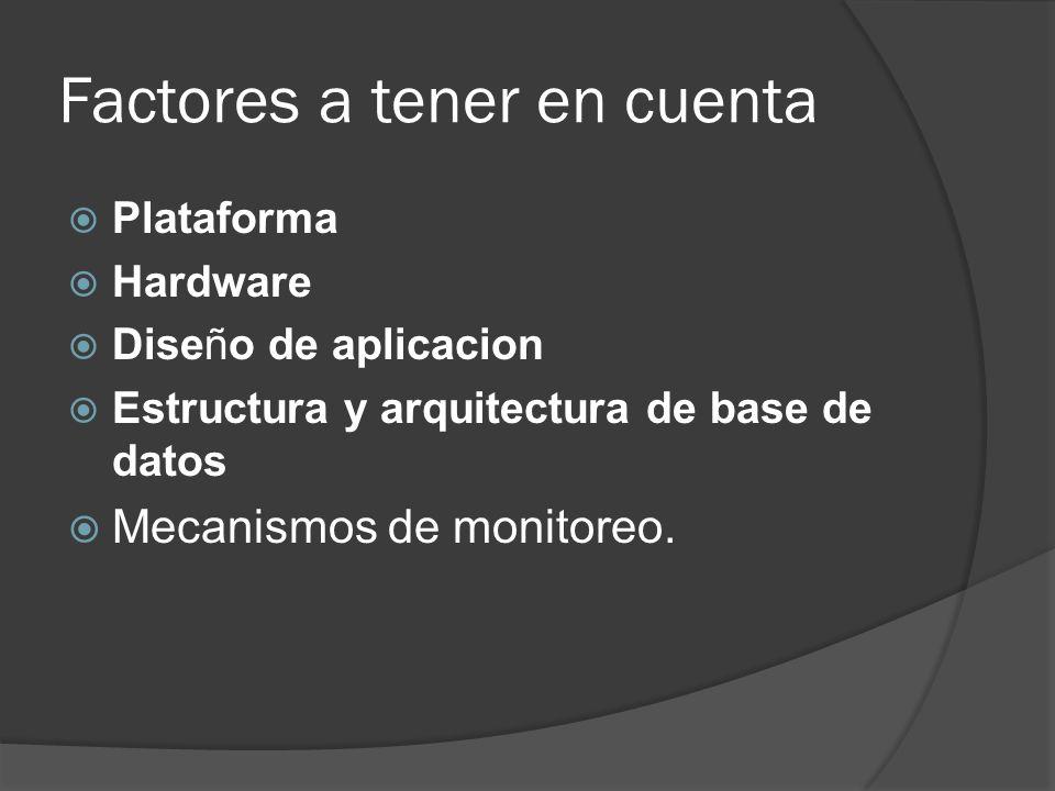 Factores a tener en cuenta Plataforma Hardware Diseño de aplicacion Estructura y arquitectura de base de datos Mecanismos de monitoreo.
