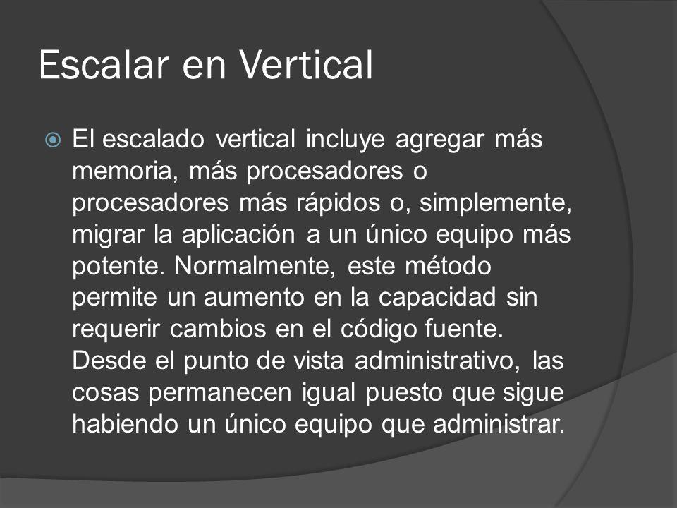Escalar en Vertical El escalado vertical incluye agregar más memoria, más procesadores o procesadores más rápidos o, simplemente, migrar la aplicación