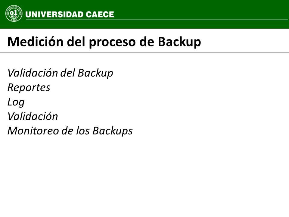 Medición del proceso de Backup Validación del Backup Reportes Log Validación Monitoreo de los Backups