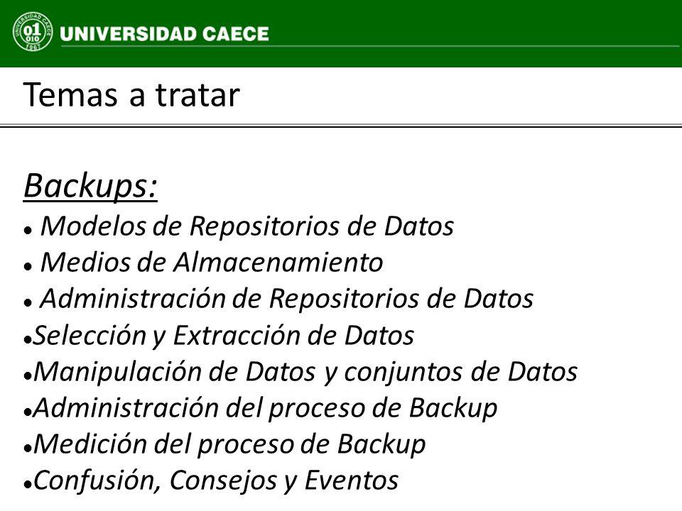 Temas a tratar Backups: Modelos de Repositorios de Datos Medios de Almacenamiento Administración de Repositorios de Datos Selección y Extracción de Da