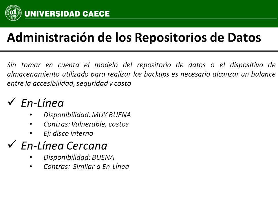 Administración de los Repositorios de Datos Sin tomar en cuenta el modelo del repositorio de datos o el dispositivo de almacenamiento utilizado para r
