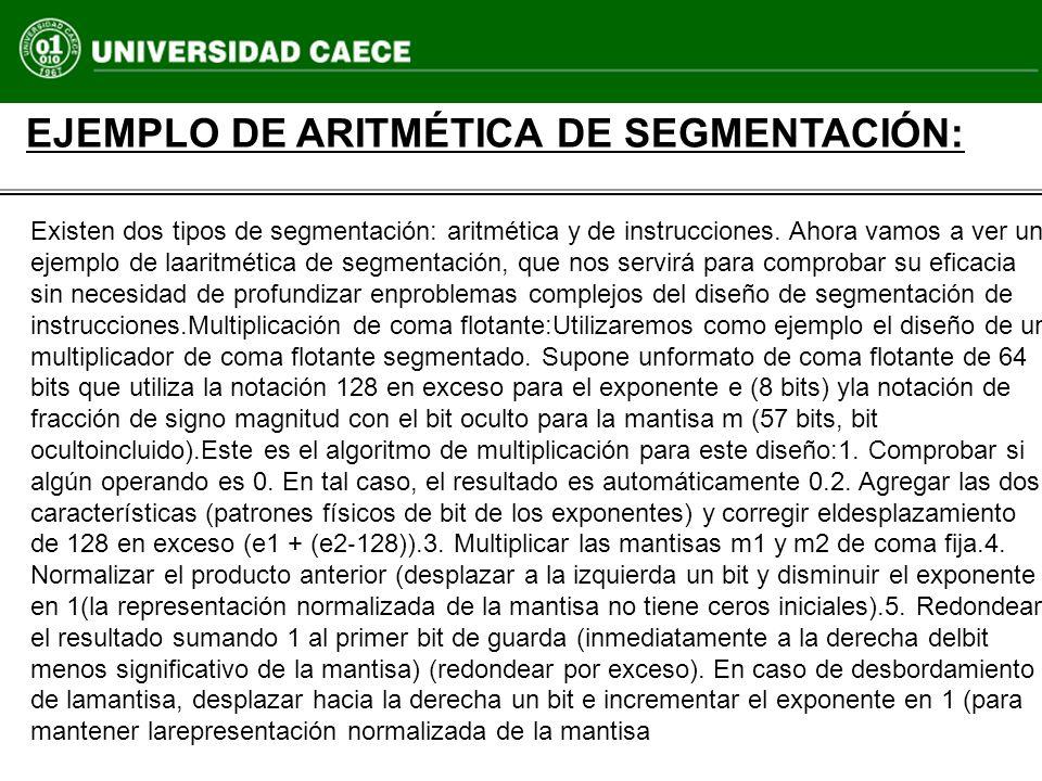 EJEMPLO DE ARITMÉTICA DE SEGMENTACIÓN: Existen dos tipos de segmentación: aritmética y de instrucciones. Ahora vamos a ver un ejemplo de laaritmética