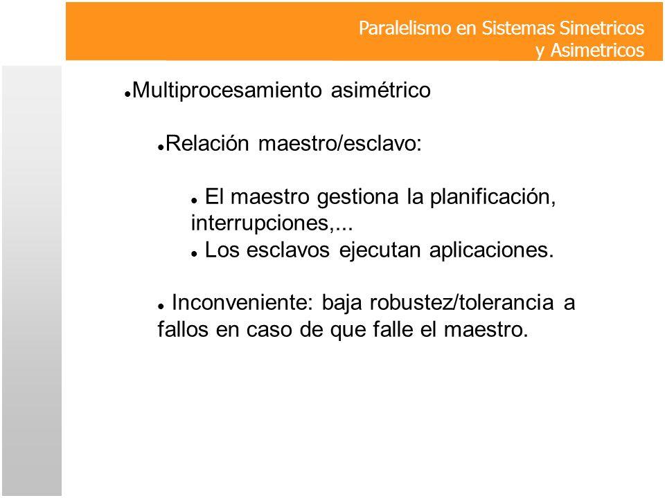 Multiprocesamiento asimétrico Relación maestro/esclavo: El maestro gestiona la planificación, interrupciones,... Los esclavos ejecutan aplicaciones. I