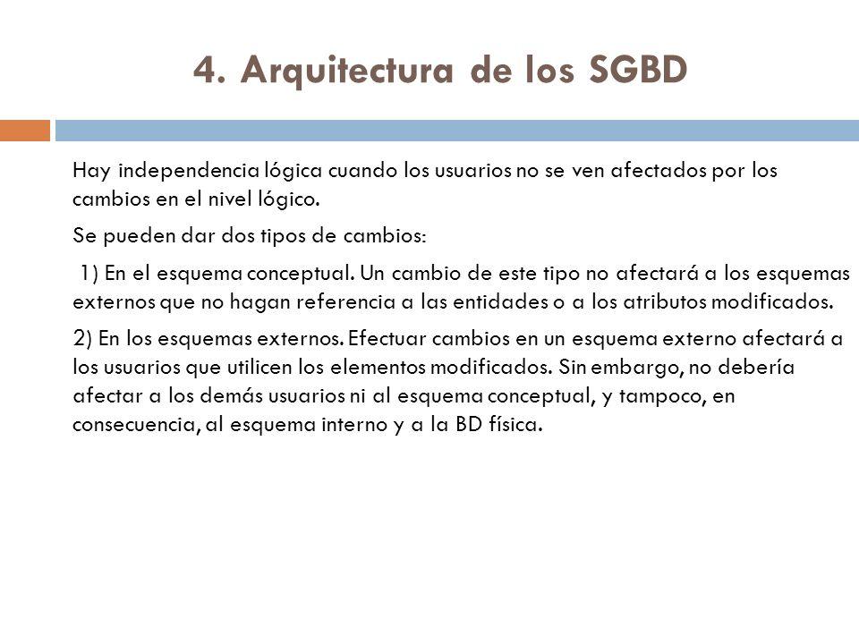 4. Arquitectura de los SGBD Hay independencia lógica cuando los usuarios no se ven afectados por los cambios en el nivel lógico. Se pueden dar dos tip
