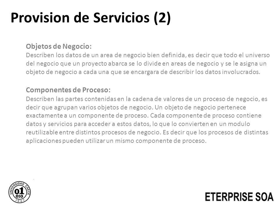 Provision de Servicios (2) Objetos de Negocio: Describen los datos de un area de negocio bien definida, es decir que todo el universo del negocio que