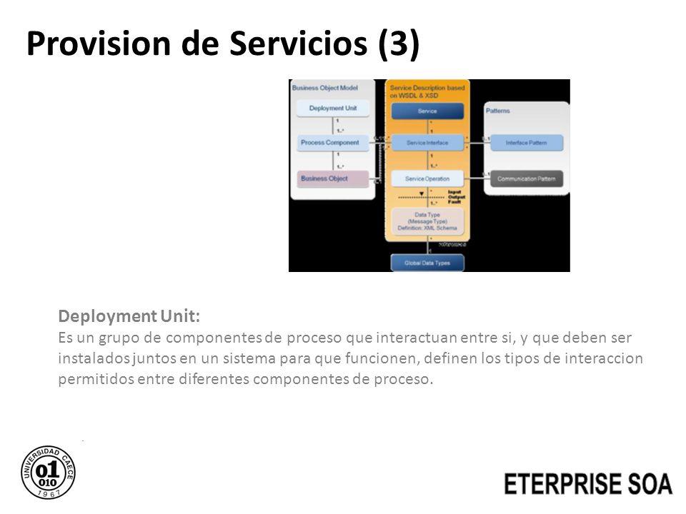 Provision de Servicios (3) Deployment Unit: Es un grupo de componentes de proceso que interactuan entre si, y que deben ser instalados juntos en un si