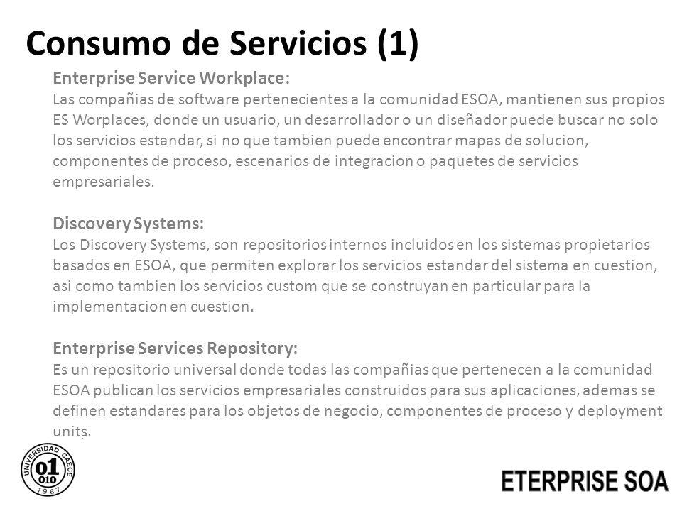Consumo de Servicios (1) Enterprise Service Workplace: Las compañias de software pertenecientes a la comunidad ESOA, mantienen sus propios ES Worplace