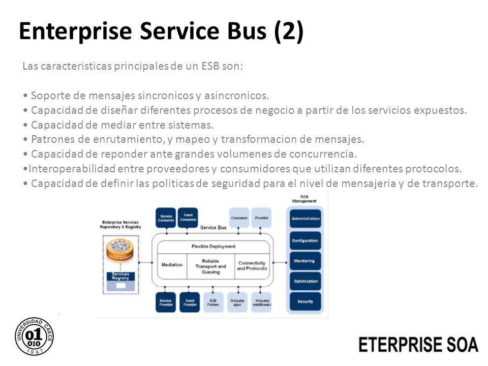 Enterprise Service Bus (2) Las caracteristicas principales de un ESB son: Soporte de mensajes sincronicos y asincronicos. Capacidad de diseñar diferen