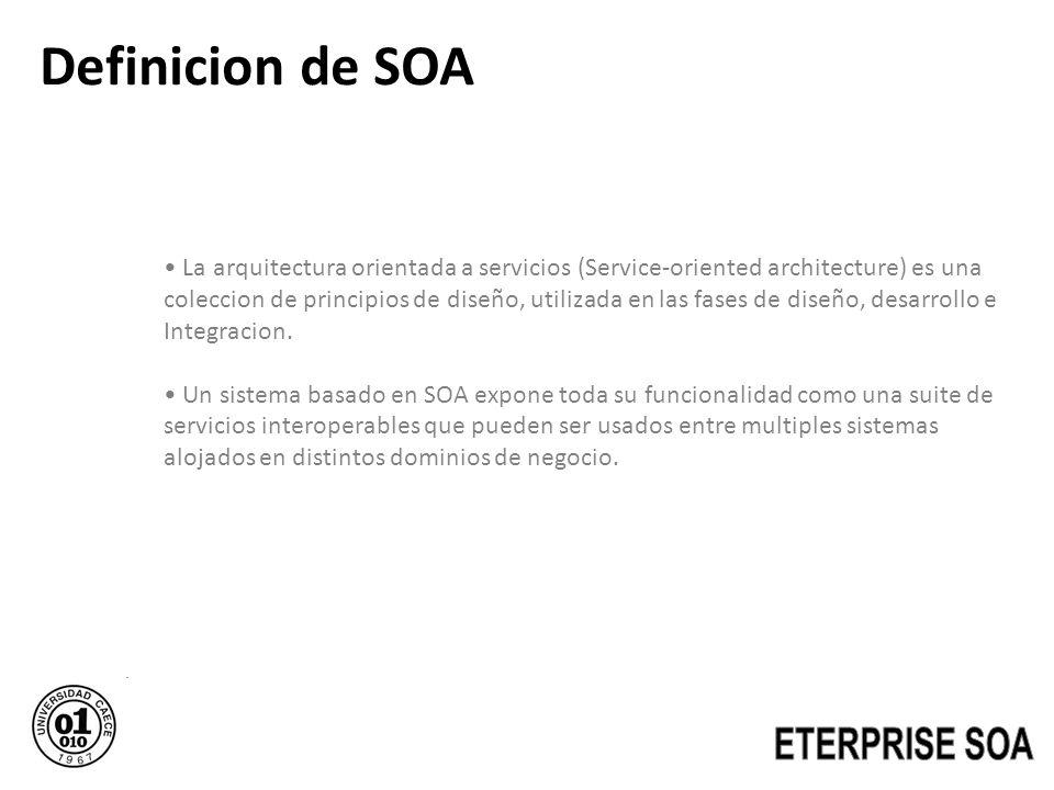 Definicion de SOA La arquitectura orientada a servicios (Service-oriented architecture) es una coleccion de principios de diseño, utilizada en las fas