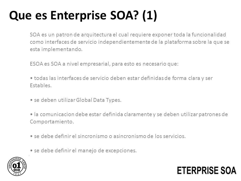 Que es Enterprise SOA? (1) SOA es un patron de arquitectura el cual requiere exponer toda la funcionalidad como interfaces de servicio independienteme