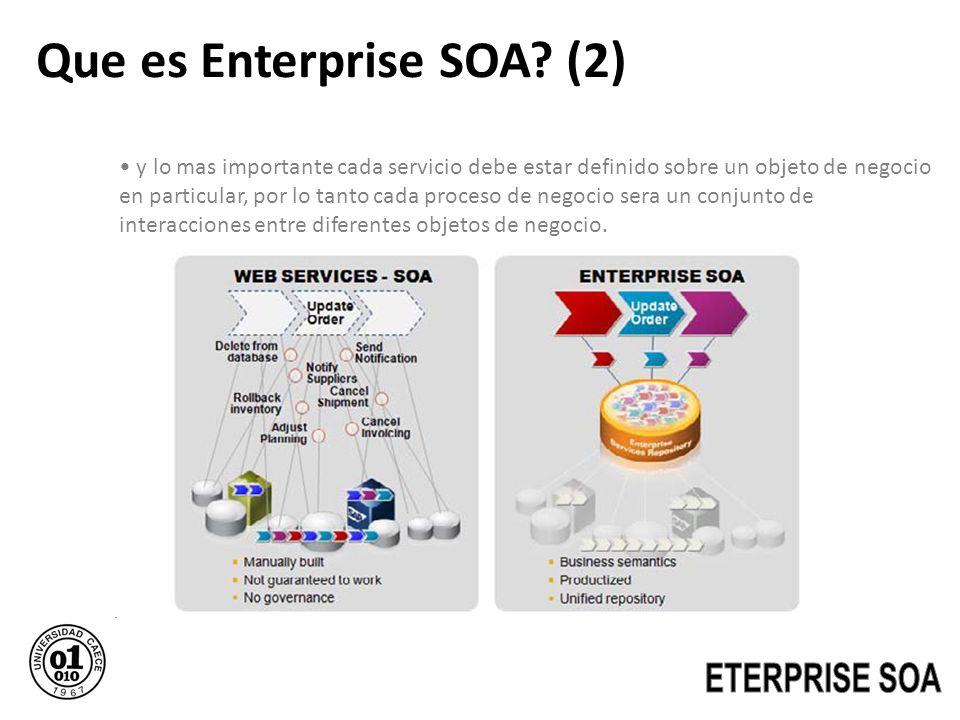 Que es Enterprise SOA? (2) y lo mas importante cada servicio debe estar definido sobre un objeto de negocio en particular, por lo tanto cada proceso d