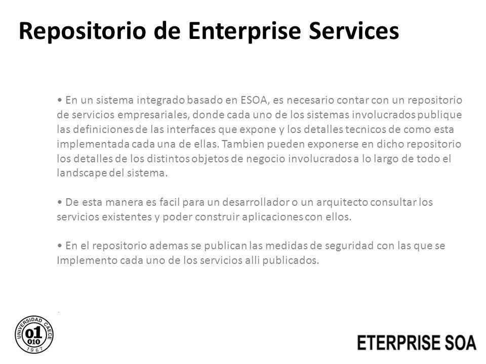 Repositorio de Enterprise Services En un sistema integrado basado en ESOA, es necesario contar con un repositorio de servicios empresariales, donde ca