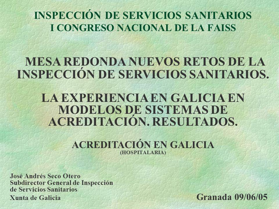 INSPECCIÓN DE SERVICIOS SANITARIOS I CONGRESO NACIONAL DE LA FAISS MESA REDONDA NUEVOS RETOS DE LA INSPECCIÓN DE SERVICIOS SANITARIOS. LA EXPERIENCIA