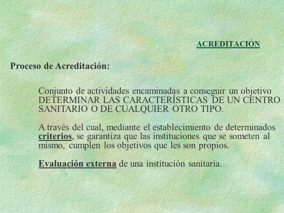 ACREDITACIÓN Proceso de Acreditación: Conjunto de actividades encaminadas a conseguir un objetivo DETERMINAR LAS CARACTERÍSTICAS DE UN CENTRO SANITARI