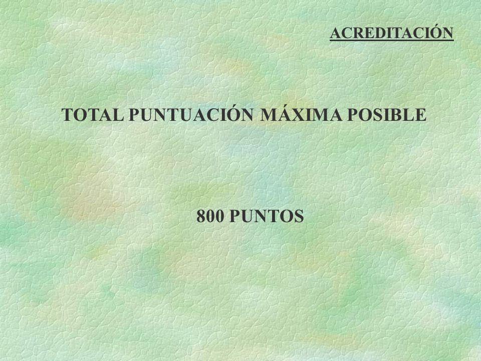 TOTAL PUNTUACIÓN MÁXIMA POSIBLE 800 PUNTOS