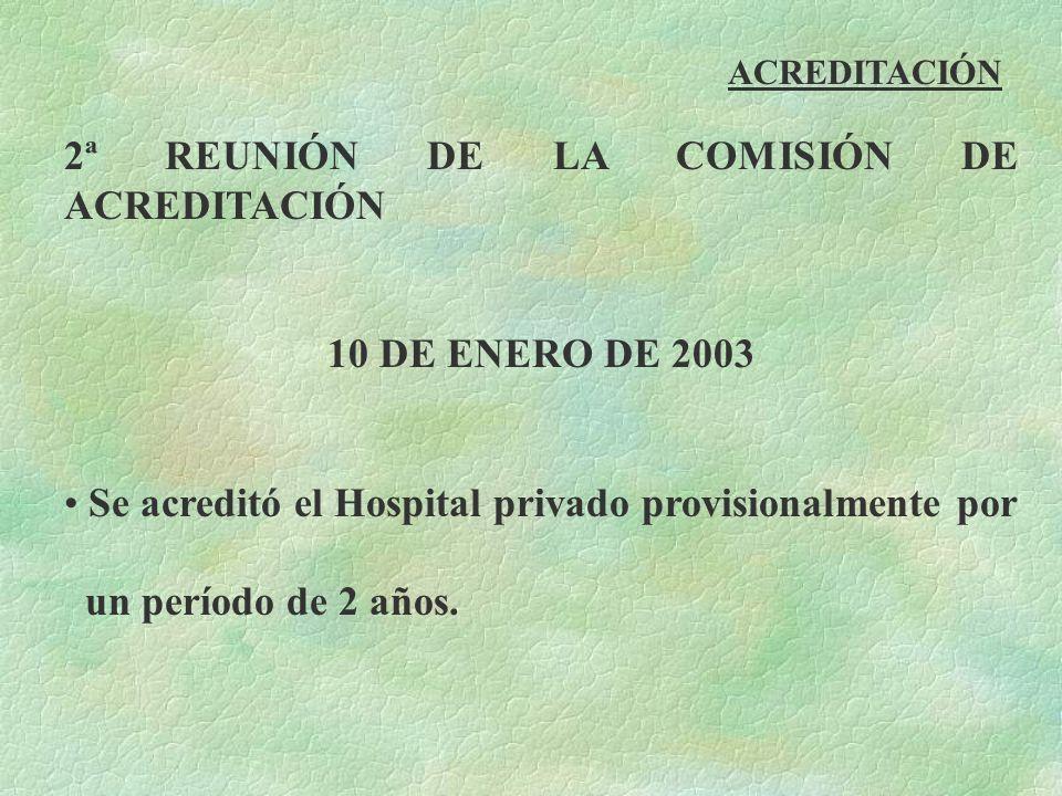 ACREDITACIÓN 2ª REUNIÓN DE LA COMISIÓN DE ACREDITACIÓN 10 DE ENERO DE 2003 Se acreditó el Hospital privado provisionalmente por un período de 2 años.