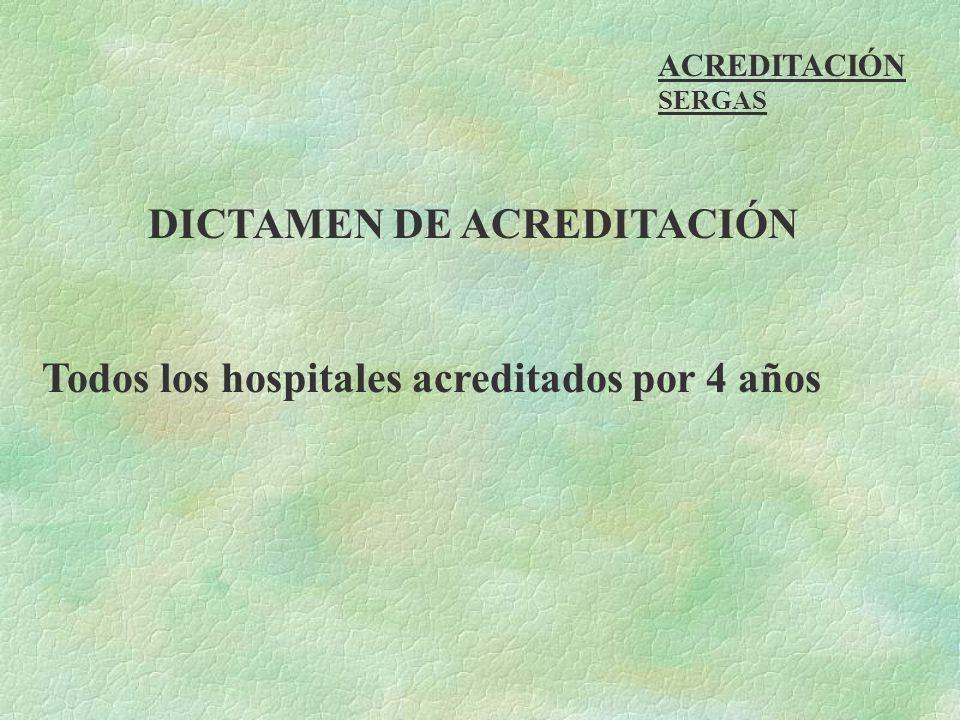 ACREDITACIÓN SERGAS DICTAMEN DE ACREDITACIÓN Todos los hospitales acreditados por 4 años