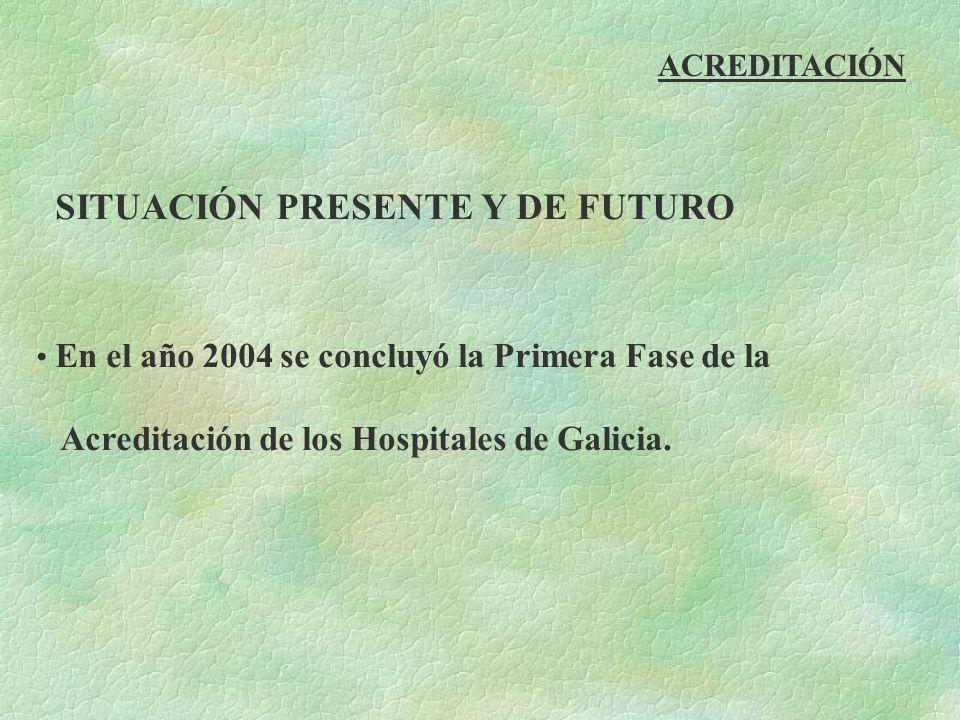 ACREDITACIÓN SITUACIÓN PRESENTE Y DE FUTURO En el año 2004 se concluyó la Primera Fase de la Acreditación de los Hospitales de Galicia.
