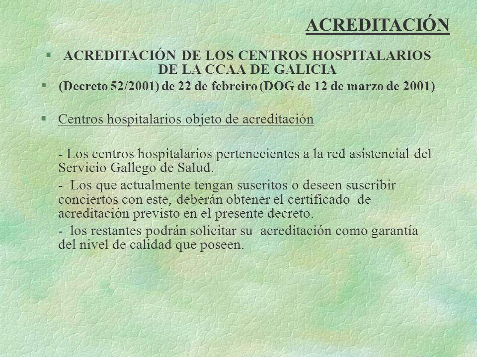 ACREDITACIÓN §ACREDITACIÓN DE LOS CENTROS HOSPITALARIOS DE LA CCAA DE GALICIA §(Decreto 52/2001) de 22 de febreiro (DOG de 12 de marzo de 2001) §Centr