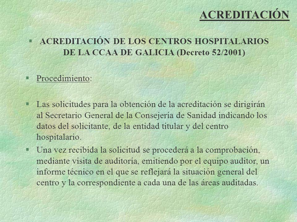ACREDITACIÓN §ACREDITACIÓN DE LOS CENTROS HOSPITALARIOS DE LA CCAA DE GALICIA (Decreto 52/2001) §Procedimiento: §Las solicitudes para la obtención de