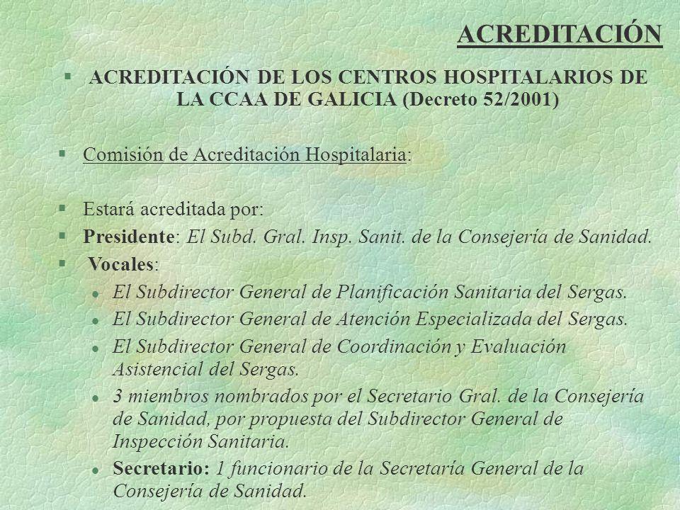 ACREDITACIÓN §ACREDITACIÓN DE LOS CENTROS HOSPITALARIOS DE LA CCAA DE GALICIA (Decreto 52/2001) §Comisión de Acreditación Hospitalaria: §Estará acredi