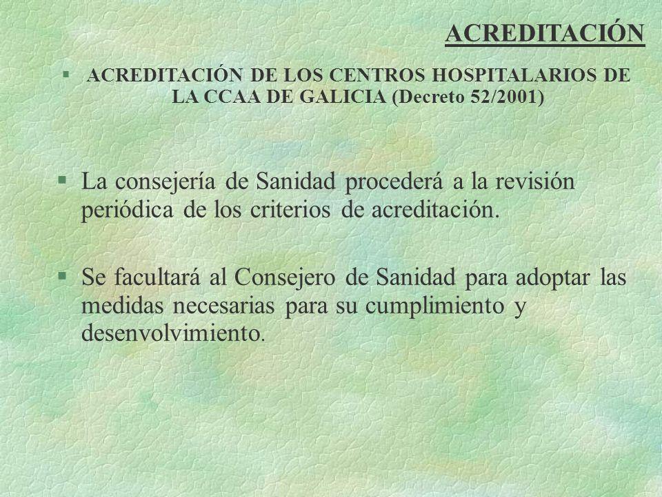 ACREDITACIÓN §ACREDITACIÓN DE LOS CENTROS HOSPITALARIOS DE LA CCAA DE GALICIA (Decreto 52/2001) §La consejería de Sanidad procederá a la revisión peri