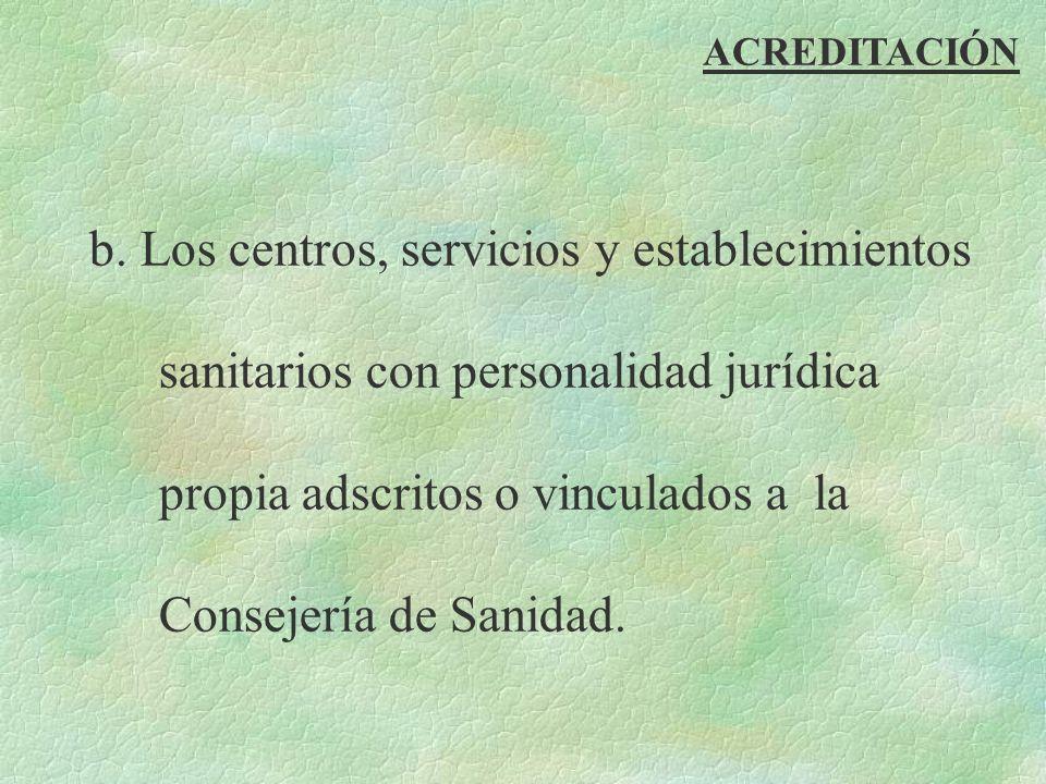 ACREDITACIÓN b. Los centros, servicios y establecimientos sanitarios con personalidad jurídica propia adscritos o vinculados a la Consejería de Sanida