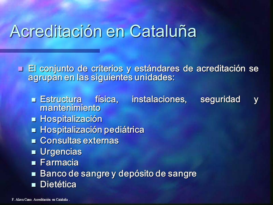F. Alava Cano. Acreditación en Cataluña. El conjunto de criterios y estándares de acreditación se agrupan en las siguientes unidades: El conjunto de c