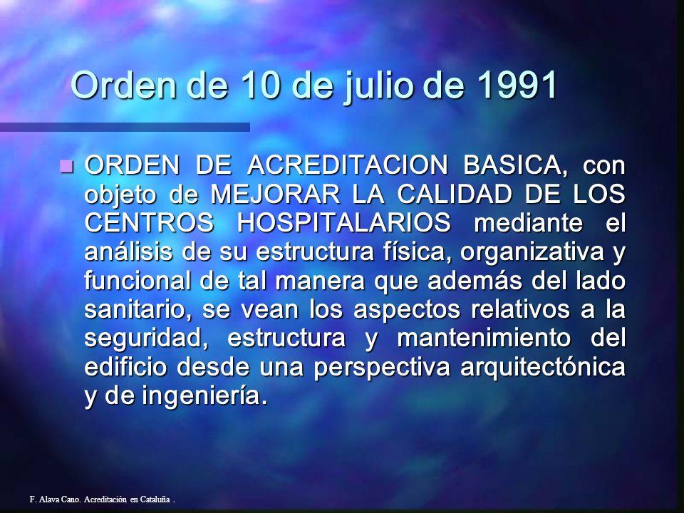 F. Alava Cano. Acreditación en Cataluña. CUESTIONARIO (Solicitud - Autoevaluación) AUDITORIA (Sanitaria, Seguridad contra incendios, Seguridad y mante