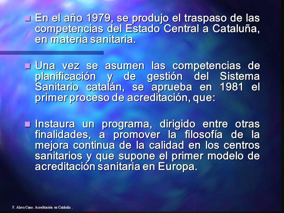 ACREDITACION HOSPITALARIA F. Alava Cano. Acreditación en Cataluña.