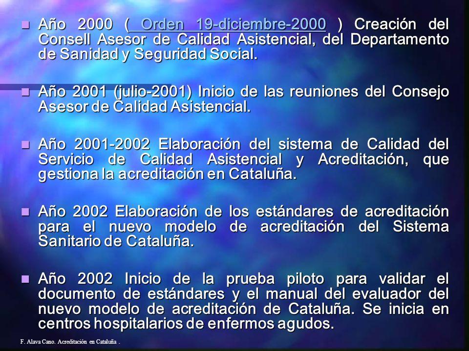 Acreditación en Ctaluña Nuevo Modelo F. Alava Cano. Acreditación en Cataluña.