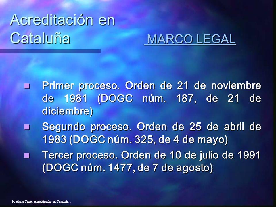 F.Alava Cano. Acreditación en Cataluña. Resultados 1.991 83,3% de cumplimiento de los estándares.