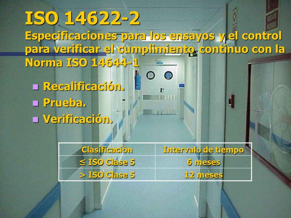 Número de Clasificación N de la ISO Valor máximo de la concentración de partículas (partículas por metro cúbico de aire) igual o superior al tamaño in