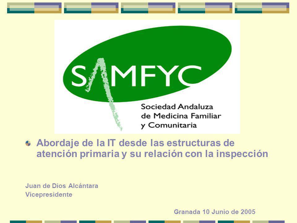 Abordaje de la IT desde las estructuras de atención primaria y su relación con la inspección Juan de Dios Alcántara Vicepresidente Granada 10 Junio de