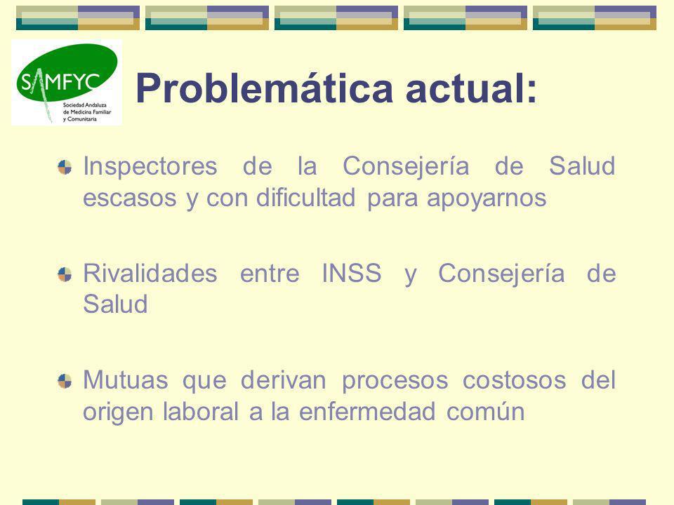 Problemática actual: Inspectores de la Consejería de Salud escasos y con dificultad para apoyarnos Rivalidades entre INSS y Consejería de Salud Mutuas