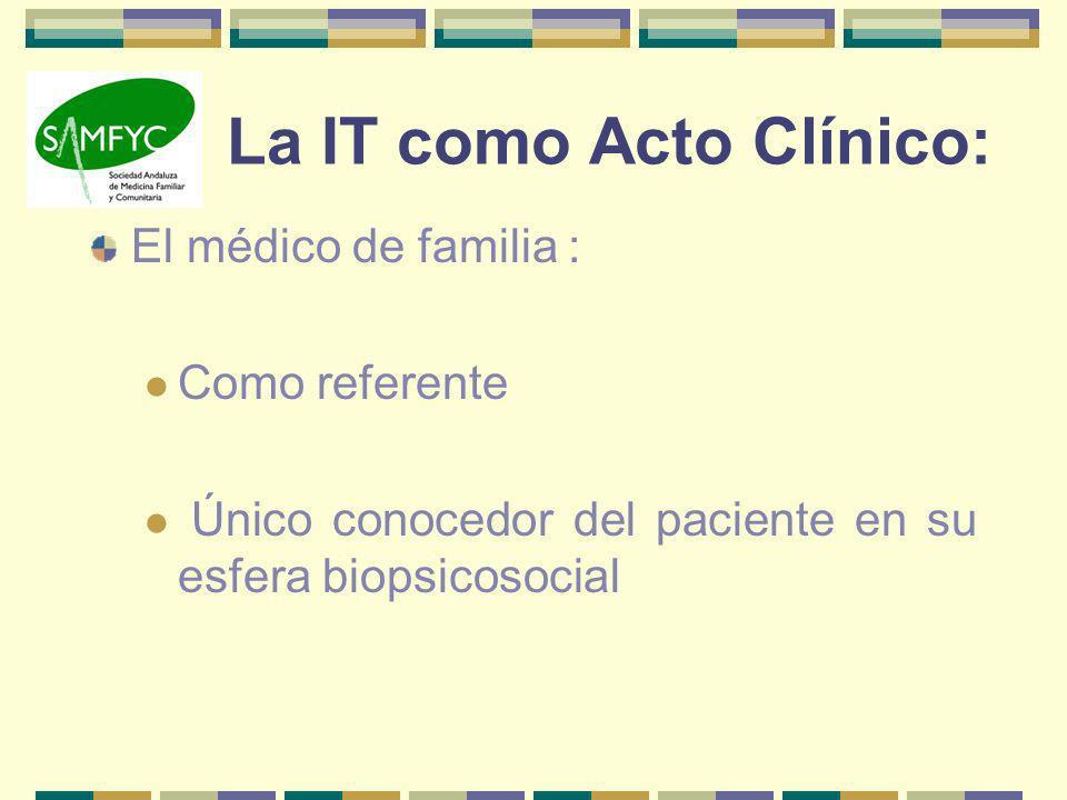 La IT como Acto Clínico: El médico de familia : Como referente Único conocedor del paciente en su esfera biopsicosocial