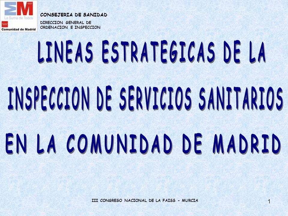 12 LINEAS ESTRATEGICAS DE LA INSPECCIÓN DE LA COMUNIDAD DE MADRID AMBITO DE LA SALUD PUBLICA El control sanitario y la prevención de los riesgos para la salud en la cadena alimentaria desde la producción hasta su comercialización.