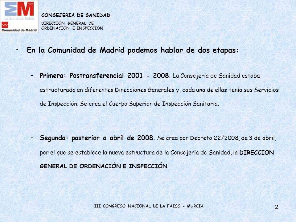 3 SITUACIÓN ACTUAL DE LA INSPECCIÓN EN LA COMUNIDAD DE MADRID En la Dirección General de Ordenación e Inspección se engloban los diferentes Servicios de Inspección.