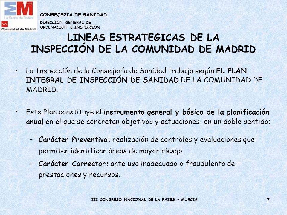 8 LINEAS ESTRATEGICAS DE LA INSPECCIÓN DE LA COMUNIDAD DE MADRID Para la elaboración de este Plan Integral, se establecen previamente unos criterios de actuación y unos objetivos.