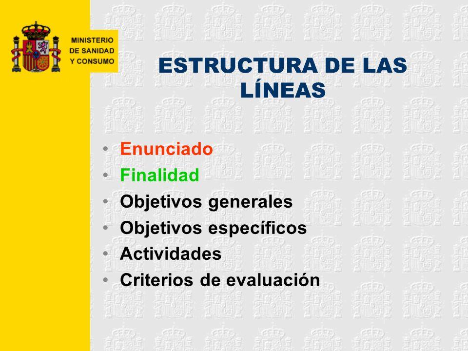 ESTRUCTURA DE LAS LÍNEAS Enunciado Finalidad Objetivos generales Objetivos específicos Actividades Criterios de evaluación