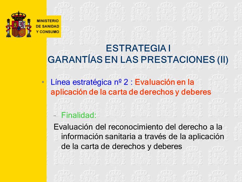 ESTRATEGIA I GARANTÍAS EN LAS PRESTACIONES (II) Línea estratégica nº 2 : Evaluación en la aplicación de la carta de derechos y deberes –Finalidad: Eva