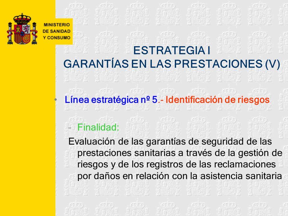 ESTRATEGIA I GARANTÍAS EN LAS PRESTACIONES (V) Línea estratégica nº 5.- Identificación de riesgos –Finalidad: Evaluación de las garantías de seguridad