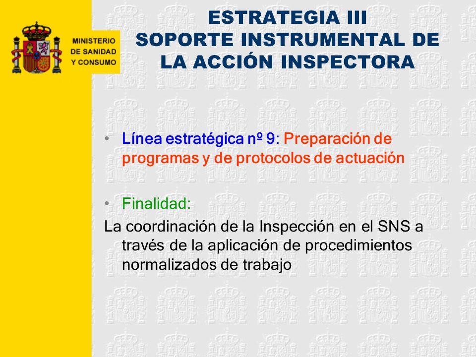 ESTRATEGIA III SOPORTE INSTRUMENTAL DE LA ACCIÓN INSPECTORA Línea estratégica nº 9: Preparación de programas y de protocolos de actuación Finalidad: L