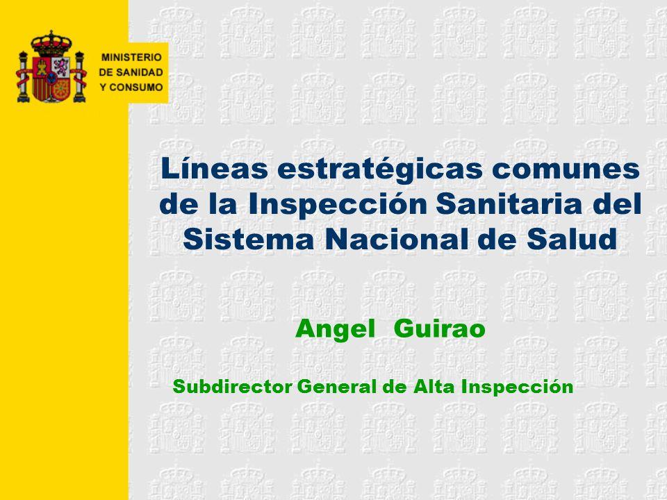Líneas estratégicas comunes de la Inspección Sanitaria del Sistema Nacional de Salud Angel Guirao Subdirector General de Alta Inspección
