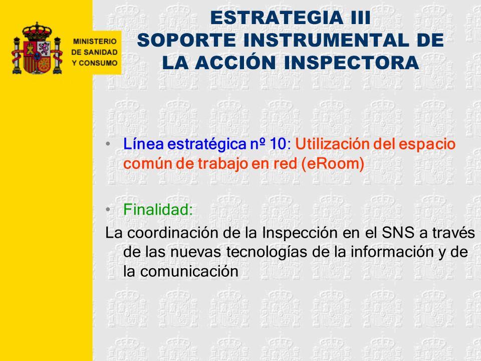 ESTRATEGIA III SOPORTE INSTRUMENTAL DE LA ACCIÓN INSPECTORA Línea estratégica nº 10: Utilización del espacio común de trabajo en red (eRoom) Finalidad