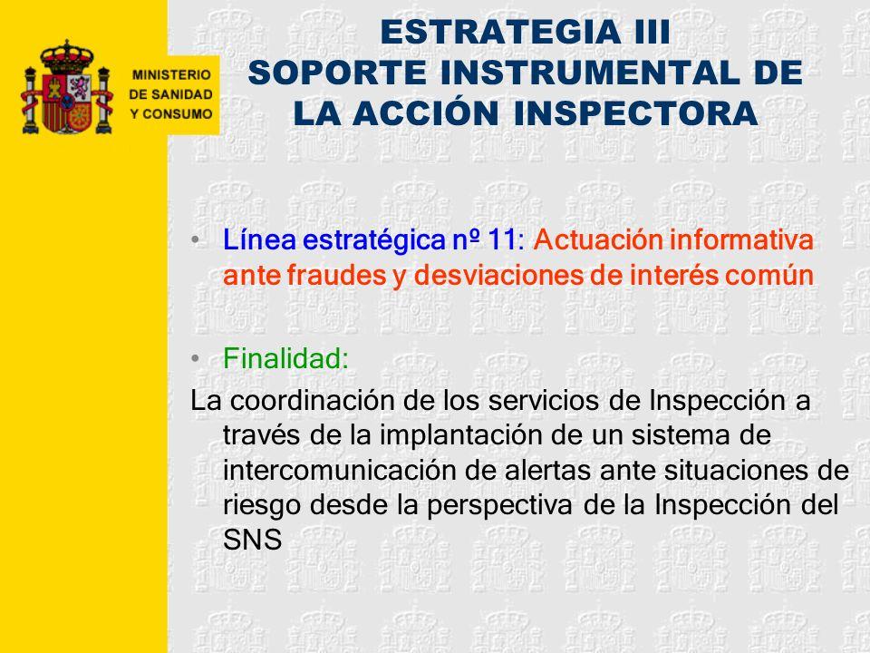 ESTRATEGIA III SOPORTE INSTRUMENTAL DE LA ACCIÓN INSPECTORA Línea estratégica nº 11: Actuación informativa ante fraudes y desviaciones de interés comú
