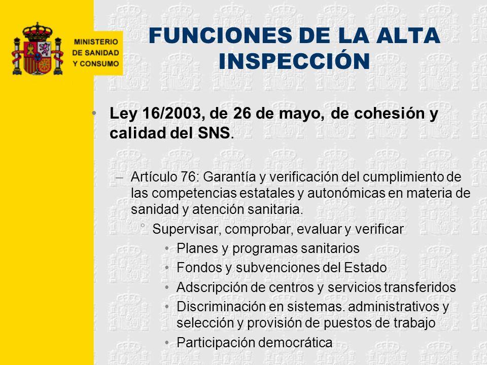 FUNCIONES DE LA ALTA INSPECCIÓN Ley 16/2003, de 26 de mayo, de cohesión y calidad del SNS. –Artículo 76: Garantía y verificación del cumplimiento de l