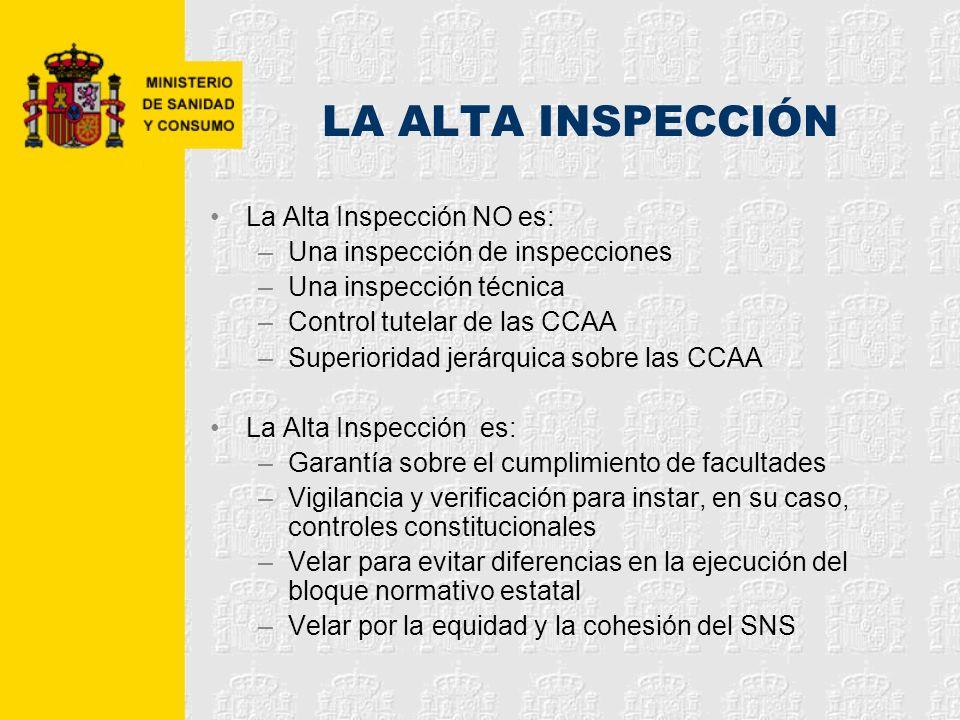 LA ALTA INSPECCIÓN La Alta Inspección NO es: –Una inspección de inspecciones –Una inspección técnica –Control tutelar de las CCAA –Superioridad jerárq